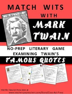 Use this activity to foster critical thinking and creative thinking in your students.and help them get to know Mark Twain better.In this printable resource. School Resources, Teaching Resources, Teaching Ideas, Writing Resources, Teaching Art, High School Reading, Student Reading, Vocabulary Practice, History Classroom