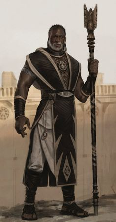 m Cleric Med Armor Robes Cloak Staff Desert city wall by Karla Ortiz lg Black Characters, Dnd Characters, Fantasy Characters, Character Concept, Character Art, Concept Art, Fantasy Inspiration, Character Design Inspiration, Story Inspiration