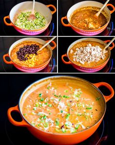 This Creamy Cheesy Chicken Enchilada Soup is a fiesta of flavors full of chunks of chicken, black beans, corn and diced tomatoes, for a complete satisfying and comforting bowl of soup. Mexican Food Recipes, Soup Recipes, Cooking Recipes, Healthy Recipes, Recipies, Chili Recipes, Healthy Food, Cheesy Chicken Enchiladas, Chicken Enchilada Soup
