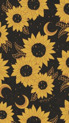 Sunflower Moon Witchy Phone Wallpaper - Free Download from Ectogasm