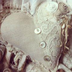 Vintage French Farmhouse European Hemp Grain Sack Linen Fabric Lace Heart Valentine Sachet Pillow