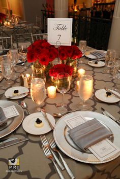 Red roses are a go to classic for any black tie event.