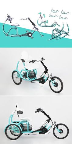 The CERO tricycle goes far beyond fun! This adaptable e-trike is particularly useful for users with physical impairments who desire greater mobility, more exercise, or a supplement to physiotherapy. Read More: http://www.yankodesign.com/2016/11/17/an-e-trike-for-muscle-training/