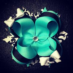 Aqua and damask boutique bow by itty bitty Bowtique