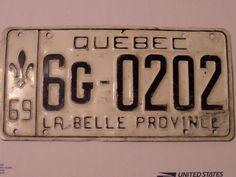 1969 QUEBEC CANADA 6G-0202  LICENSE PLATE LA BELLE PROVINCE