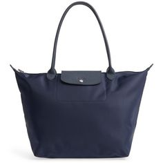 Women's Longchamp 'Large Le Pliage Neo' Nylon Tote (€155) ❤ liked on Polyvore featuring bags, handbags, tote bags, new navy, tote handbags, travel tote bags, foldover tote, nylon travel tote and handbags totes