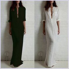 Cheap fashion beach dress, Buy Quality fashion dresses plus size directly from China fashionable clock Suppliers: New Fashion Vestidos Autumn Women Sexy Casual Dress Long Sleeve Deep V Neck Linen Split Solid Long Maxi Dress Plus Size Plus Size Maxi Dresses, Short Sleeve Dresses, Long Sleeve, Long Dresses, Neck Shirt, High Slit Dress, Plain Dress, White Dress, Column Dress