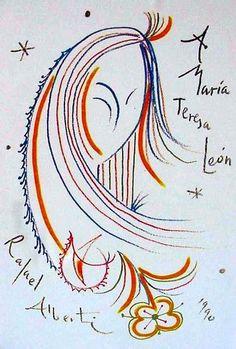 Búscame en el ciclo de la vida: 495. A María Teresa León (Rafael Alberti) Maria Teresa, Illustration, Arabic Calligraphy, Sketchbooks, Diaries, Journals, Graphic Artwork, Printmaking, Art