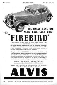 Alvis Car Autocar Advert 1936 - Firebird
