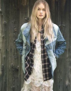 denim over flannel over lace