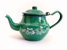 Vintage Enamelware, pequeña tetera verde, esmalte tetera, decoración cocina