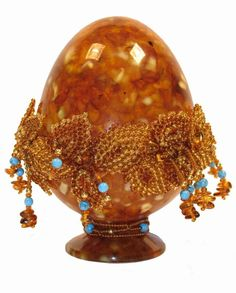 Russian amber and turquoise egg.