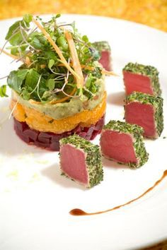 Chilled Herb Crusted Tuna over a red beet, mandarin orang and Avocado chilled salad recipe Meeresfrüchte Fish Recipes, Seafood Recipes, Gourmet Recipes, Salad Recipes, Cooking Recipes, Healthy Recipes, Cat Recipes, Gourmet Desserts, Healthy Food