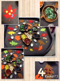 "Autumn counting & number recognition - from Rachel ("",) Maths Eyfs, Eyfs Classroom, Numeracy, Tuff Spot, Early Years Maths, Early Math, Early Learning, Nursery Activities, Math Activities"