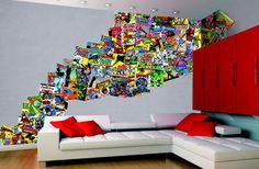 mural dc comics comic collage tile