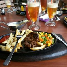 That's my lunch... beef steak & lychee ice tea, hand made by cimory cafe & resto
