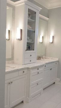 Image Result For Double Vanity With Tower In Middle With Images