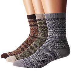 Flora&Fred Men's 3 Pair Pack Vintage Style Fair Isle Cotton Crew Socks at Amazon Men's Clothing store: