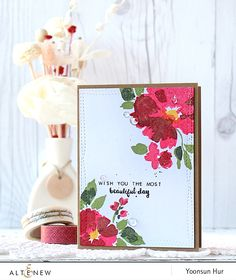 RejoicingCrafts: Flower card with the Altenew Watercolor Wonders stamp set. #altenew #flower #cascard