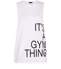 Cool White Gym Thing Slogan Sports Tank Top