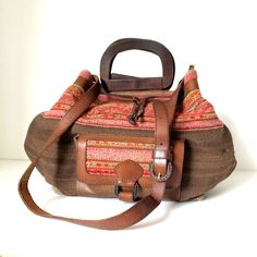 Bolivian Vintage Leather and Aguayo Cloth Boho by oldtanery