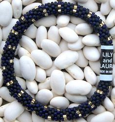 Gold Dots on Navy and Black Matte - LILY and LAURA® Bracelets