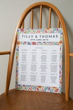 Bright Flowers Design Wedding Seating Plan by lucysaysido on Etsy matching items available