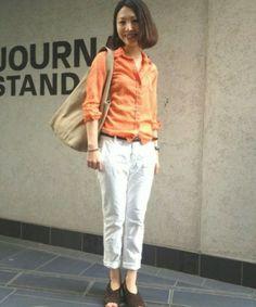 JOURNAL STANDARD 神戸店 JOURNAL STANDARD Ladys 神戸店 スタッフAさんのシャツ・ブラウス「ITALYドビー スキッパーロールアップシャツ #(JOURNAL STANDARD ジャーナルスタンダード)」を使ったコーディネート