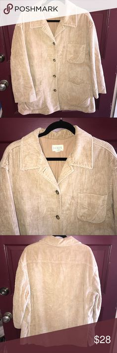 Vintage J. Crew Jacket Vintage tan J. Crew corduroy jacket. This is a great jacket! It will easily fit a size 16 or 18 woman. The cut is generous and comfy. This jacket is in really great condition. No flaws or stains. Would love to see this go to a good home.😊 J. Crew Jackets & Coats