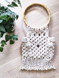 This sweet little bag is a lovely accessory for any spring or summer outfit. Handmade using recycled cotton cord. It's not only beautiful, its eco-friendly too! Summer Handbags, Macrame Bag, Macrame Design, Boho Bags, Little Bag, Gypsy Style, Wooden Beads, Summer Outfit, Cord