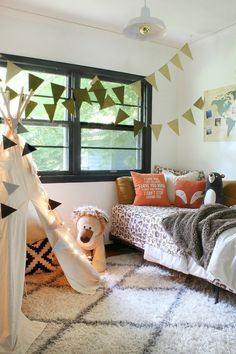 Teepee Bedroom with Pillowfort at Target | kid space with teepee, giant lion, fox pillow, bear stuffed toy, woodland sheets | Bliss at Home