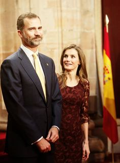 Day 2 of the Schedulefor the Prince of Asturias Awards 2013:Prince Felipe of Spain and Princess Letizia of Spain attend an audience with Principe de Asturias Awards 2013 winners at the Reconquista Hotel on October 25, 2013 in Oviedo, Spain.