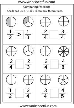 free fraction worksheets  homeschool  math fractions worksheets  comparing fractions worksheets