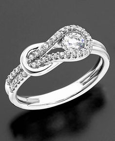 Everlon Diamond Ring, Diamond Knot 14k White Gold (1/2 ct. t.w.) - Rings - Jewelry & Watches - Macy's