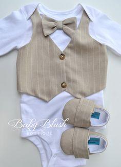 Beige Vest strikje Baby Boy Outfit foto Prop door babyblushboutique