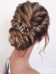 wedding updos elegant swept braided low bun with baby breath belaya_lyudmila wedding updos el Long Face Hairstyles, Wedding Hairstyles For Long Hair, Box Braids Hairstyles, Bride Hairstyles, Hairstyle Ideas, Gorgeous Hairstyles, Long Hair For Wedding, Stylish Hairstyles, Bridal Hair Updo