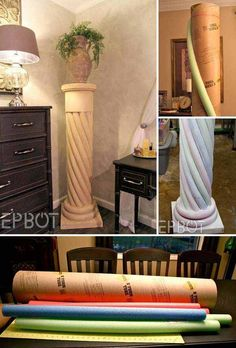 Top 21 Die besten DIY Pool Noodle Home Projekte und Lifehacks - - Deko - Diy Projects To Try, Home Projects, Home Crafts, Kid Crafts, Decorating Your Home, Diy Home Decor, Pool Noodle Crafts, Pool Noodle Wreath, Diy Casa