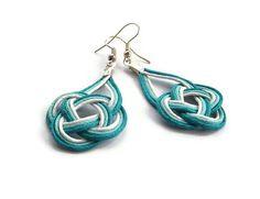 Sailor knot earrings statement jewellery macrame cord by BMaja, $17.00