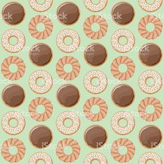 A seamless pattern made of different flavours of donuts. Free Vector Art, Image Now, Pattern Making, Donuts, Royalty, Doodles, Cartoon, Sweet, Illustration