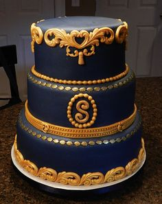a wedding cake weighed 8 kg blue and gold let them eat cake gold cake 10982