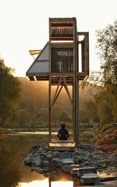 Architect Li Hao has clad this bamboo and wood pavilion in mirrored glass to reflect the historic town in southern China that it faces Landscape Architecture, Architecture Design, Architecture Colleges, Amazing Architecture, Feng Shui Principles, Pavillion, Shelter Design, Backyard Pavilion, Tiny House Cabin