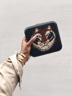 London Fashion Week - Embroidered Tiger Face Box Clutch
