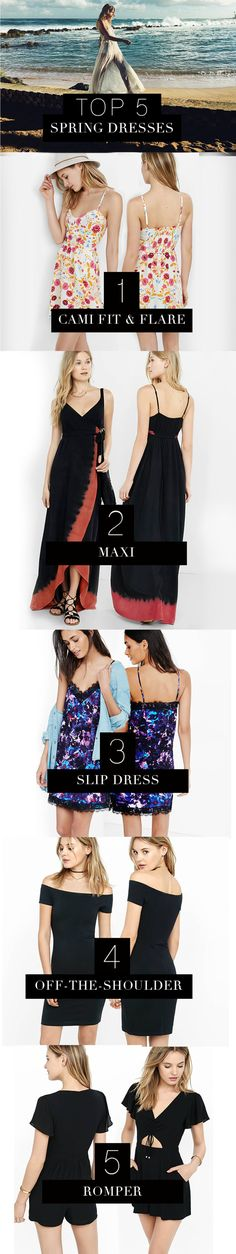 These Express dresses are spring must-haves. The fit & flare dress is perfect for day with a denim jacket & booties. A flowing maxi dress with gladiator sandals is the easiest way to look effortlessly sexy at a music festival. Harness the 90s trend your next night out with a sexy slip dress & a choker. For formal events, elevate an off-the-shoulder dress with heels & statement jewelry. For a worry-free night, go for a romper with cutouts & strappy heels. Shop these styles at Express.