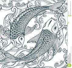 Seamless Vector Pattern With Hand Drawn Koi Fish (Japanese Carp), Waves. Stock Vector - Image: 67057081