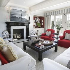 Living room with red chairs My Living Room, Living Area, Living Spaces, Family Room, Home And Family, Apartment Living, Great Rooms, My Dream Home, Decoration