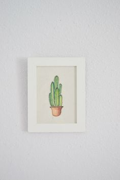 Watercolor Cactus Art Print - 5x7in Framed Art Print on Handcrafted Paper - Home Decor - Cactus Wall Art - Succulent Art