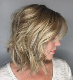 Messy Wheat Blonde Bob with Layers - 70 Perfect Medium Length Hairstyles for Thin Hair in 2019 - The Trending Hairstyle - Page 15 Medium Hair Cuts, Medium Hair Styles, Damp Hair Styles, Curly Hair Styles, Hairstyles Haircuts, Straight Hairstyles, 2018 Haircuts, Layered Hairstyles, School Hairstyles