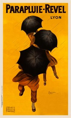 Parapluie Revel by Cappiello 1922 France - Beautiful Vintage Poster Reproduction. This vertical French advertisement features three people dressed in yellow hiding behind umbrellas on a yellow background. Giclee Advertising Print. Classic Posters