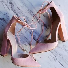 Suede Chunky Heel Lace Up Pumps