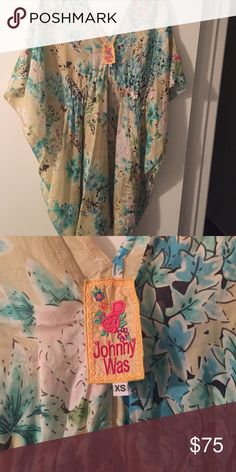 Kaftan/cover up/dress Multicolored silk  floral kaftan/coverup/dress. Yellow background with aqua flowers containing pink accents Johnny Was Swim Coverups